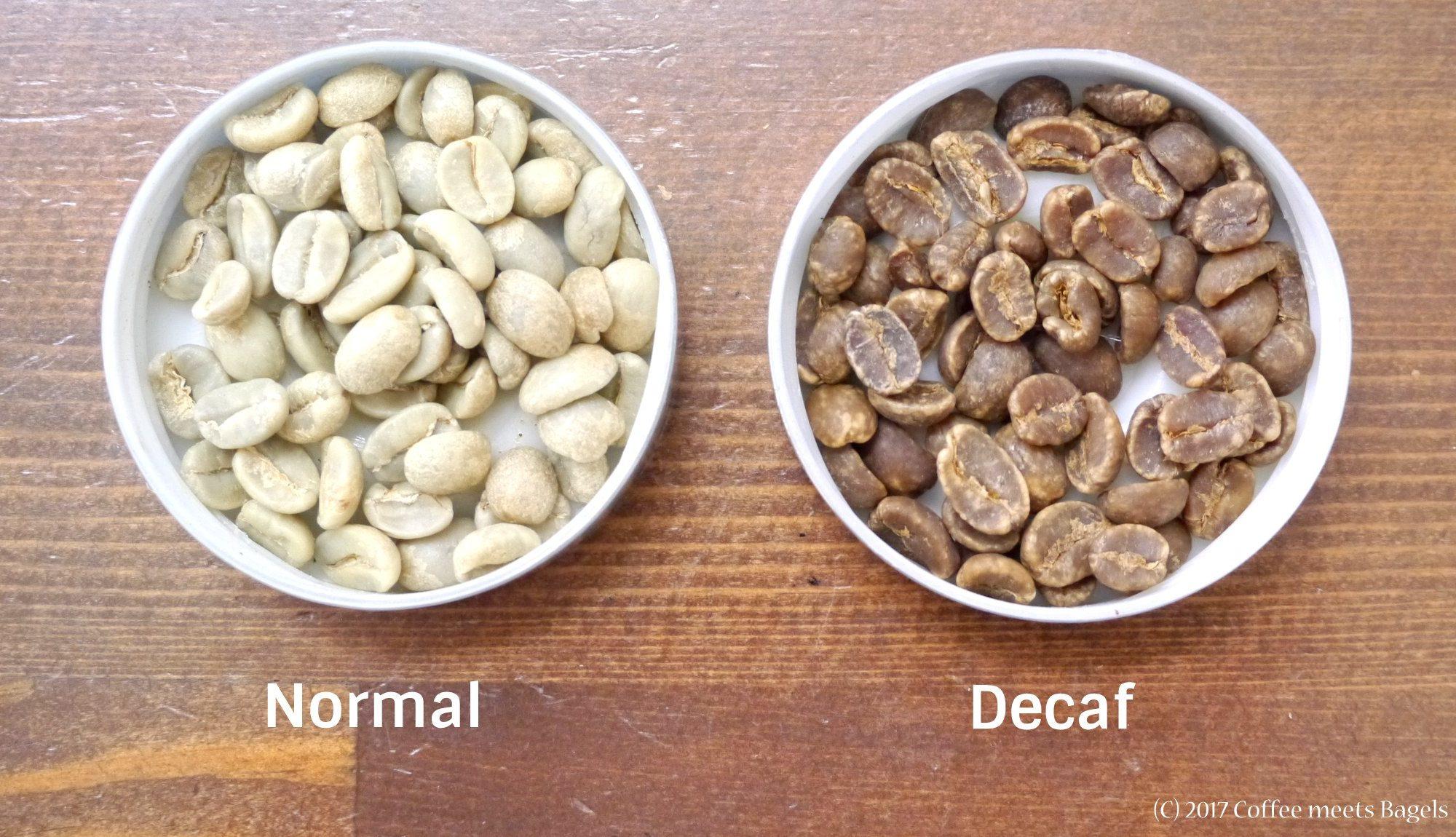 普通のコーヒー豆とデカフェ(カフェインレス)コーヒー豆