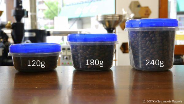 コーヒー豆を入れる保存容器は液漏れしないぐらいの密閉性があるものをお使いください。