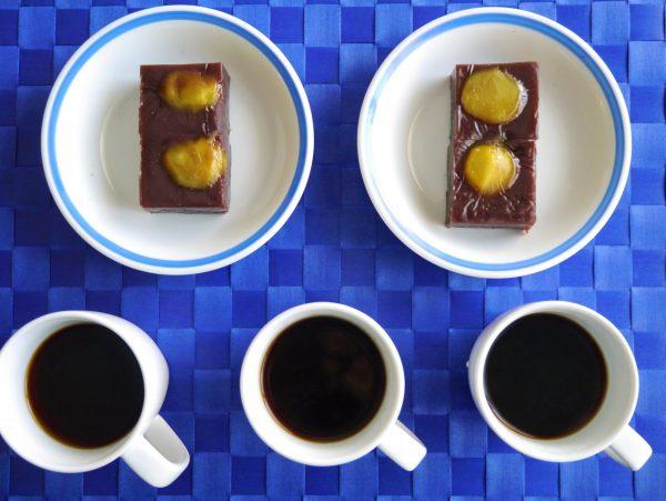 栗蒸し羊羹とコーヒー