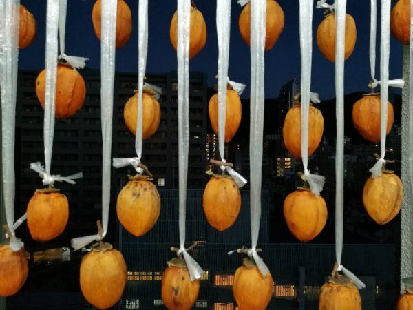吊るし中の完走柿(干し柿)