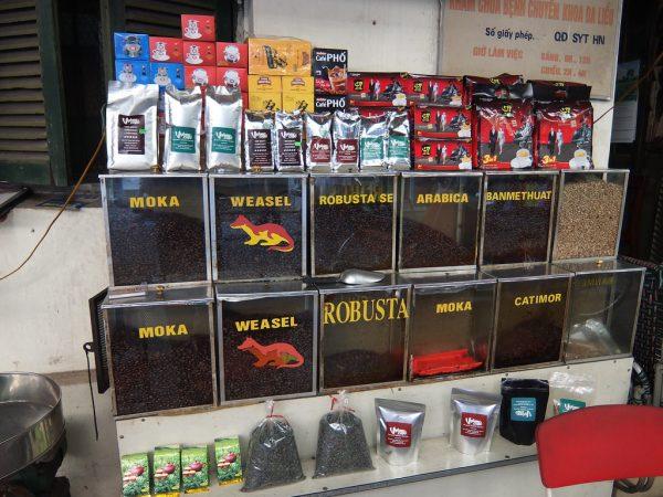 ベトナムのコーヒー豆ストア