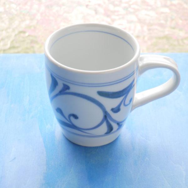 砥部焼マグカップ 公水窯 唐草